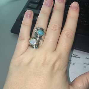Sterling Silver wrap ring with gemstones